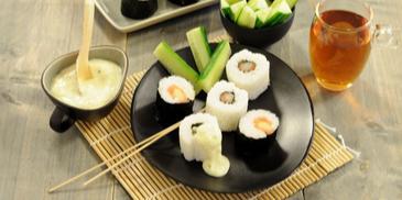 Asperge en zalm sushi