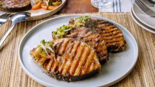 Savorventure Grilled Tanigue with Eggplant Salad
