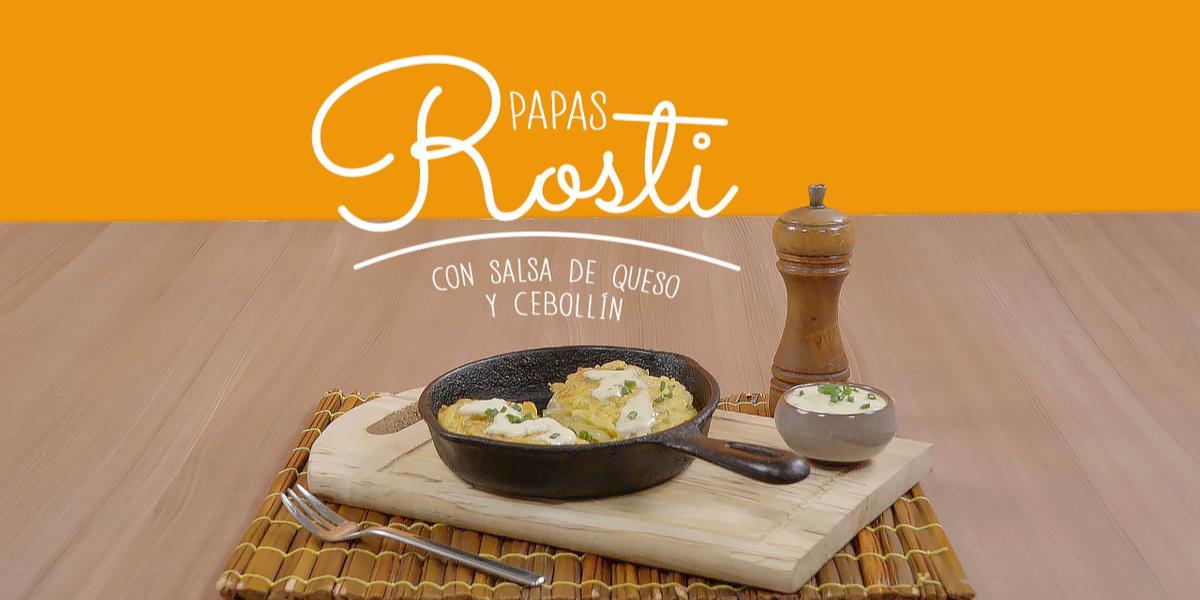 PAPA ROSTY CON SALSA DE QUESO Y CEBOLLIN