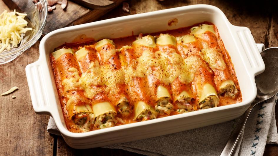 Cannelloni mit Speck und Pilzen