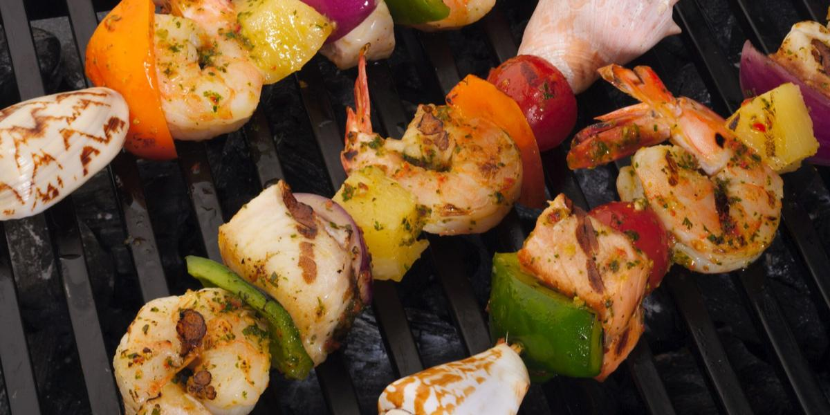 Caribbean Seafood Kebabs