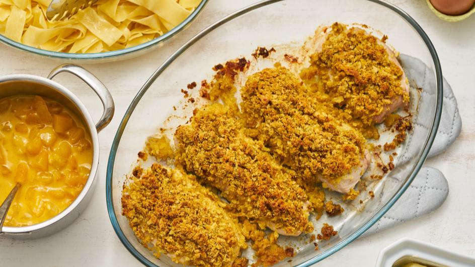 Putenschnitzel mit Currykruste
