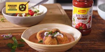 Klopsiki z warzyw po rosole w pomidorowo-kokosowym sosie