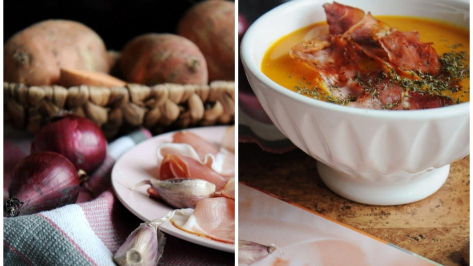 Zupa krem z batatów z chipsami z szynki parmeńskiej