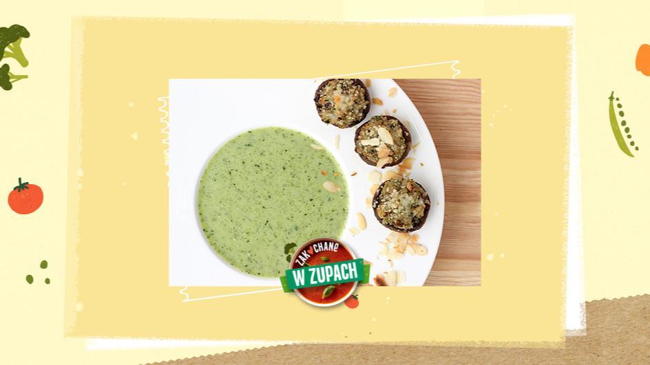 Zupa brokułowa z faszerowanymi pieczarkami