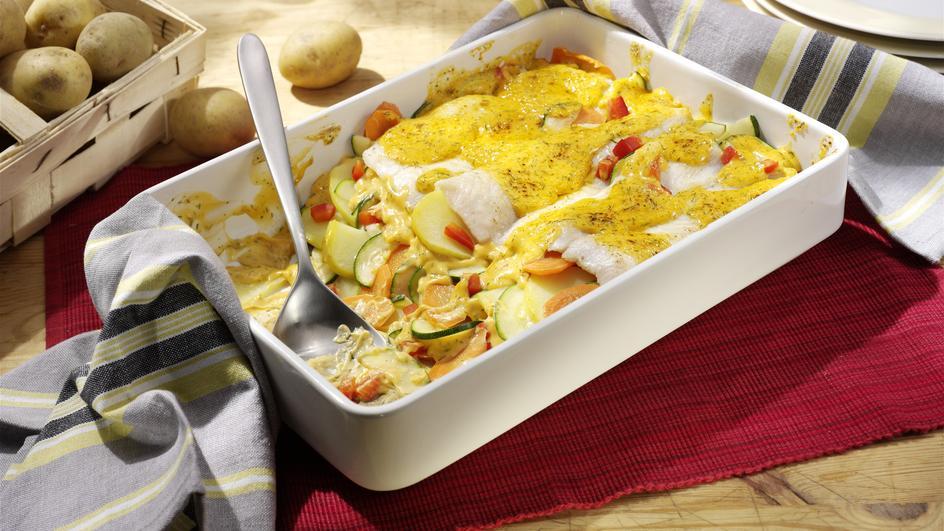 Pangasius-Filet auf Gemüse-Kartoffel-Bett