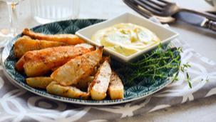 Fokhagymás zellerhasábok kakukkfüves házi majonézzel