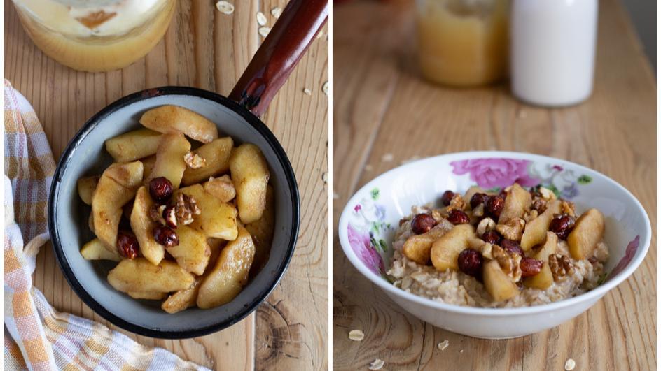 Orzechowa owsianka z cynamonem i jabłkami na mleku migdałowym