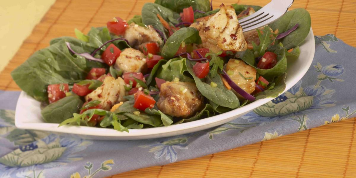 Spicy Grilled Fish Salad