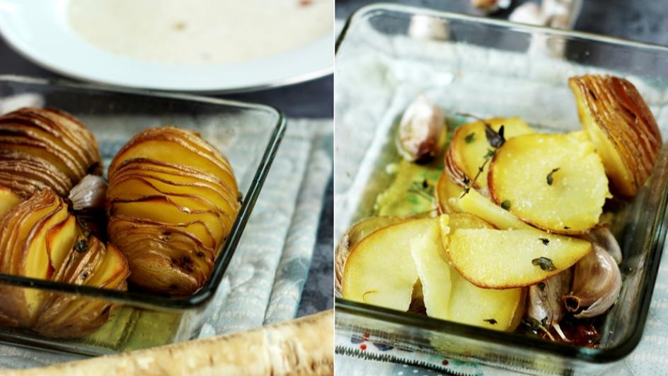 Zupa chrzanowa z domowym chrzanem i pieczonymi ziemniaczkami