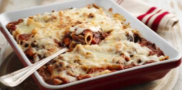 Baked Penne with Meat and Mushroom Bolognaise