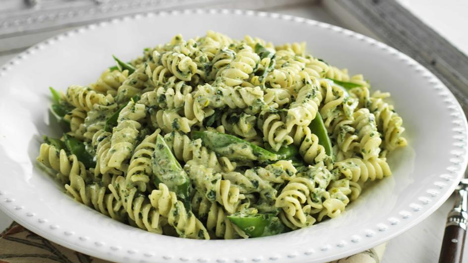 Fusilli with Spinach and Basil Pesto and Snow Peas