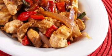 Пиле със зеленчуци на тиган