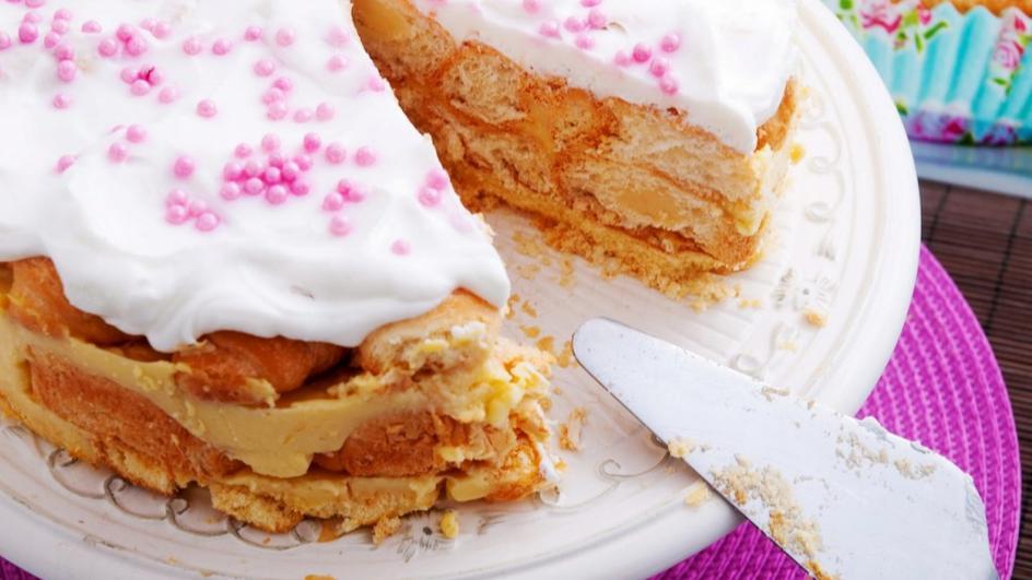 Торта с кроасани и ванилов крем