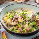 Deftiger Pilztopf mit Kartoffeln und Hackfleisch