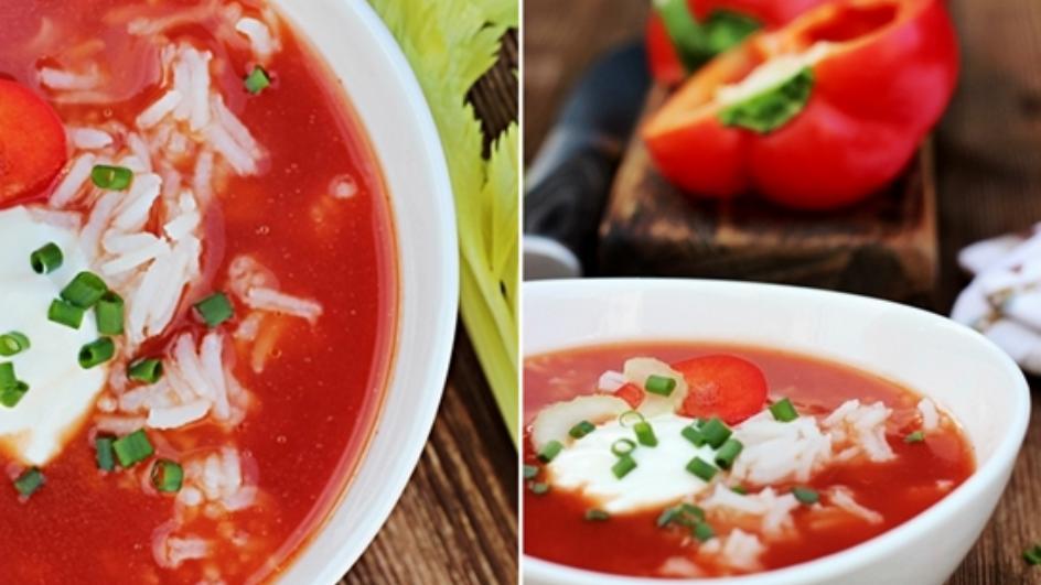 Zupa pomidorowa z ryżem i papryką pieczoną