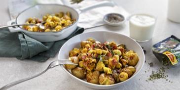 Kartupeļi ar Briseles kāpostiem un krūtiņas gaļu