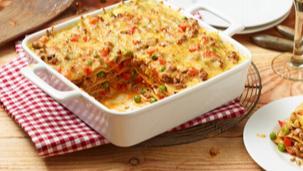 Bunte Paprika-Erbsen-Lasagne