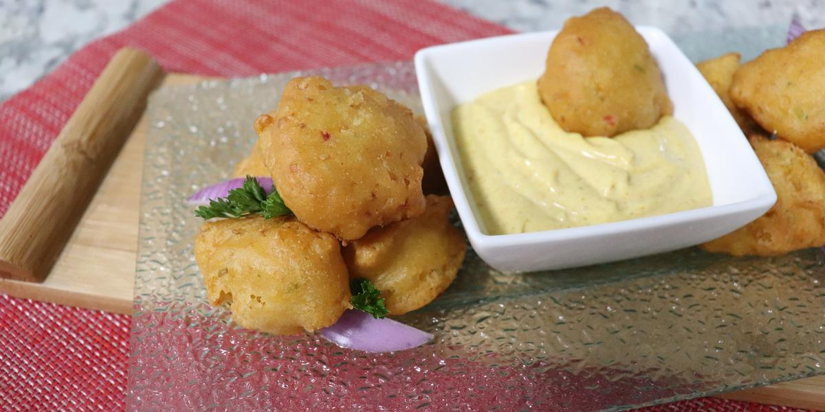 Fried Corn Fritters with Curry Maggi Dip