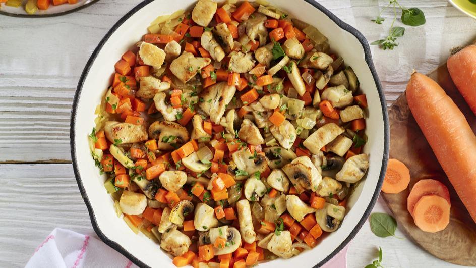 Poêlée de poulet et ses légumes fondants
