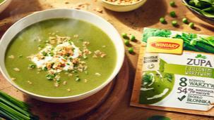 Zupa z zielonymi warzywami WINIARY z prażoną cebulką i śmietanką̨ szczypiorkową
