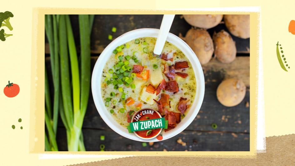 Tradycyjna zupa ziemniaczana z chrupiącymi skwarkami