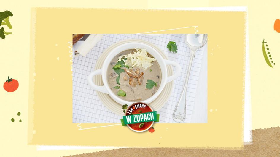 Wigilijna zupa grzybowa z chipsami serowymi