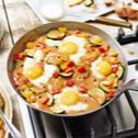 Deftige Gemüse-Pfefferpfanne mit Ei