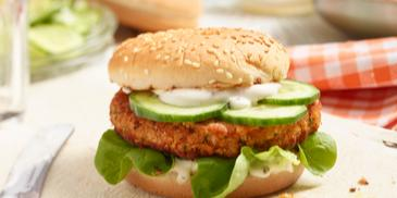 Linsen-Burger mit veganer Mayo