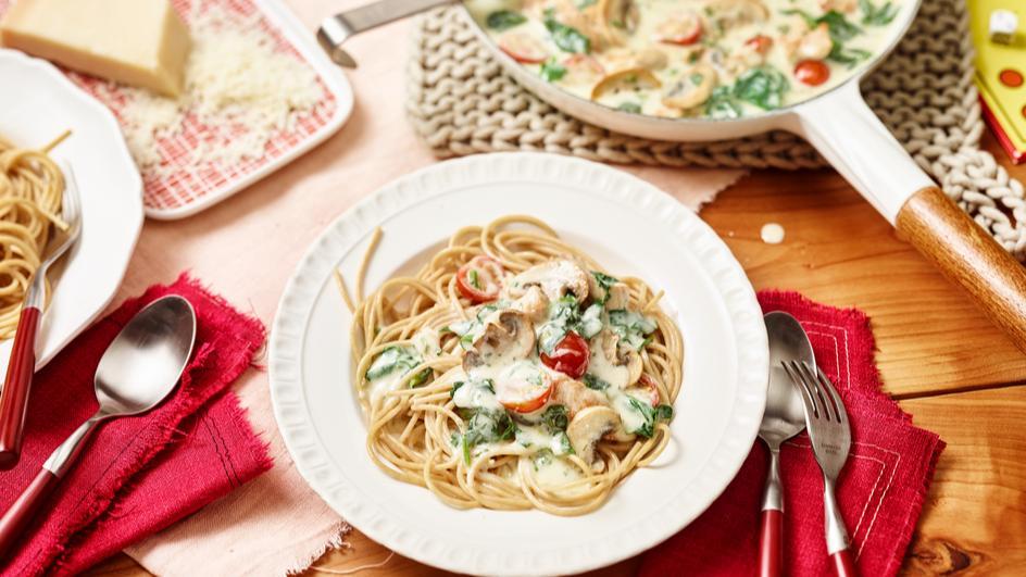 Spinat-Spaghetti mit Geschnetzeltem