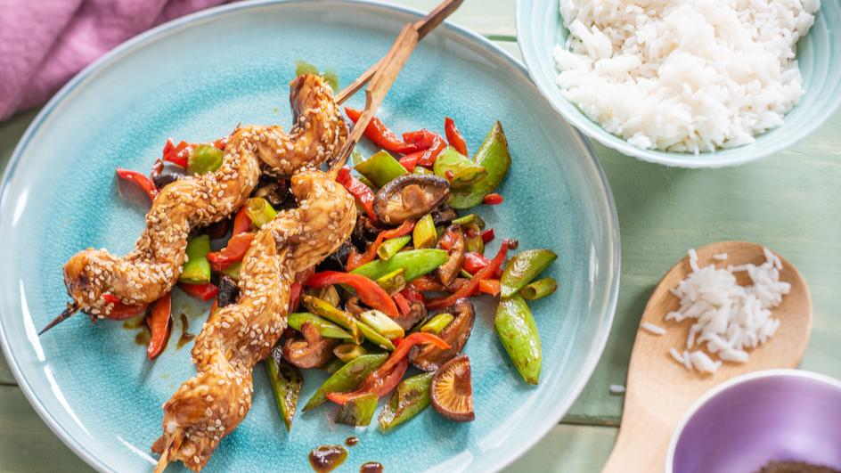 Teriyaki-Spieße mit Gemüse & Shiitake