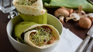 Gombás-pórés tortillatekercs