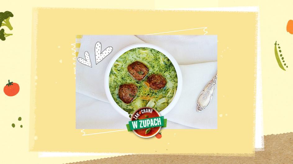 Zupa koperkowa zabielana z makaronem i klopsikami