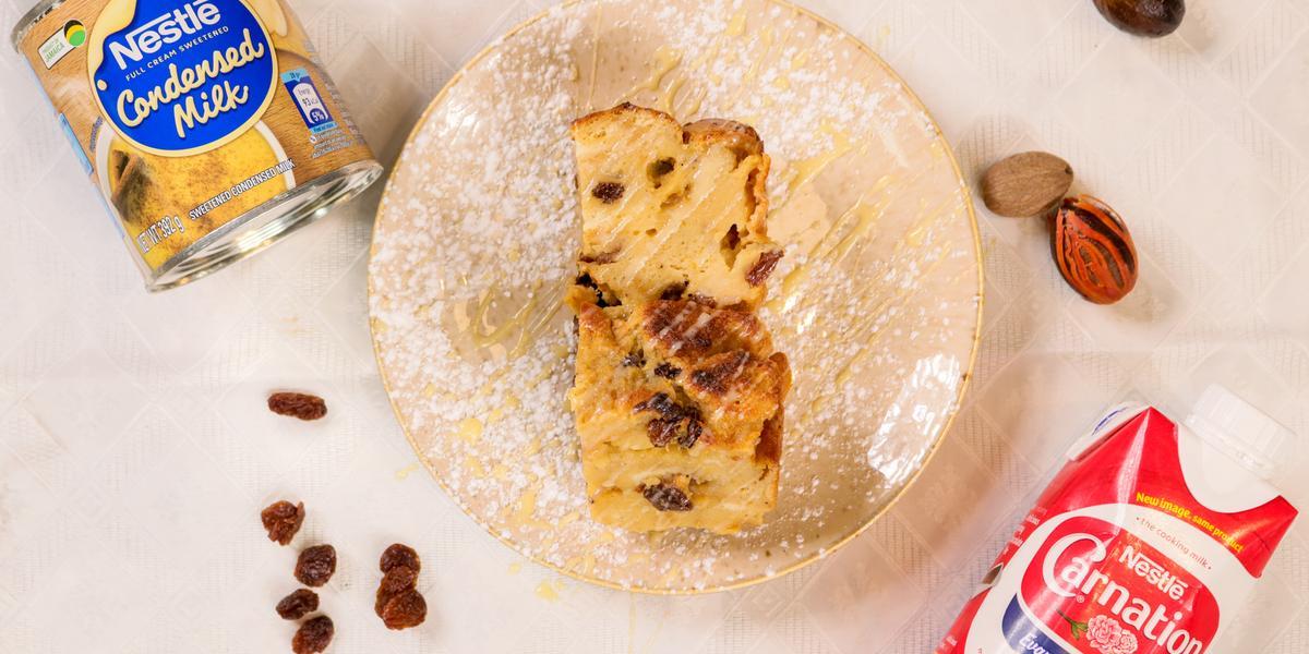 Bread pudding using Nestle Sweetened Condensed Milk and Carnation Full cream evaporated milk