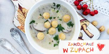 Zupa grzybowa ze świeżych grzybów z groszkiem ptysiowym
