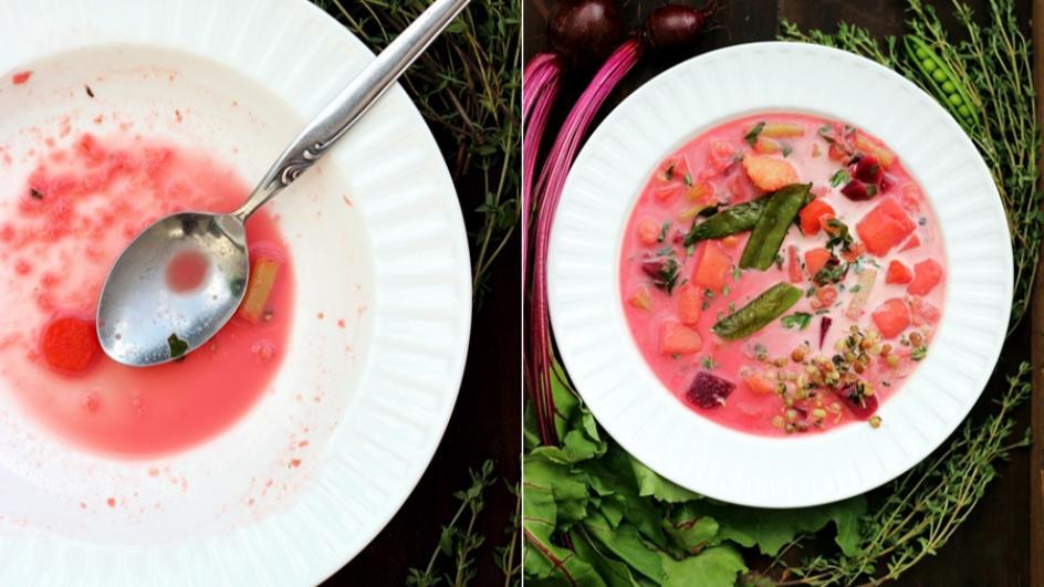 Nietypowa zupa jarzynowa z buraczkami, groszkiem cukrowym i kiełkami z patelni