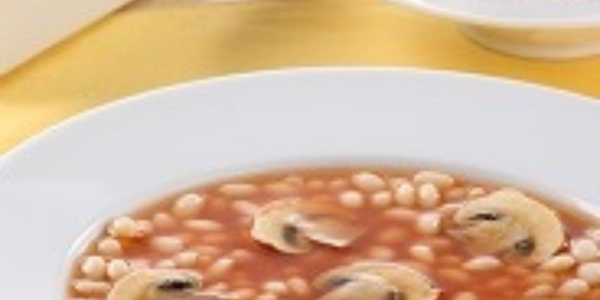 sopa de alubias y champiñones