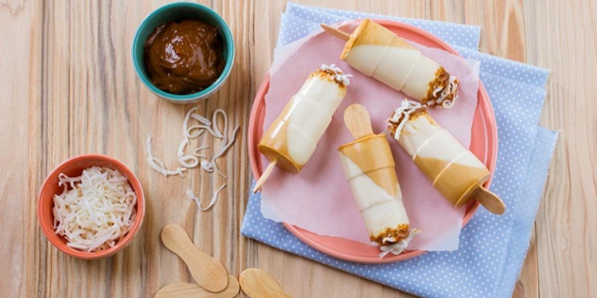 Paletas heladas de dulce de leche