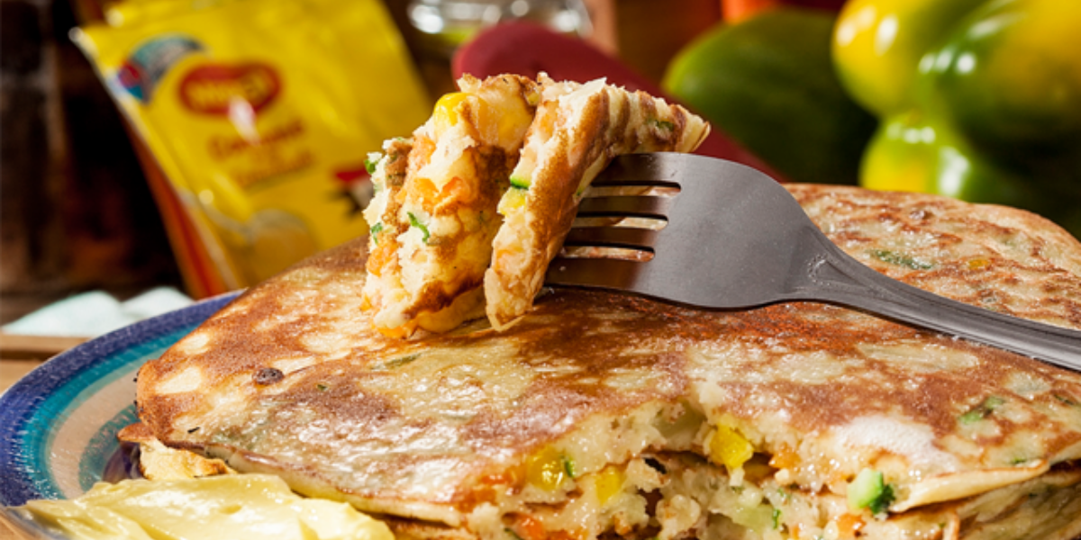 Pancakes caseros con vegetales
