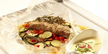 Schweinefilet im Bratschlauch mit Sommer-Gemüse