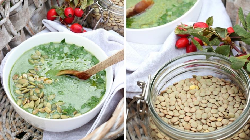 Zupa z zielonych warzyw z zieloną soczewicą i olejem lnianym