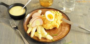 Asperge recept met kip en een stamppot van zoete aardappel