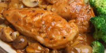 Kurczak z pieczarkami i papryką