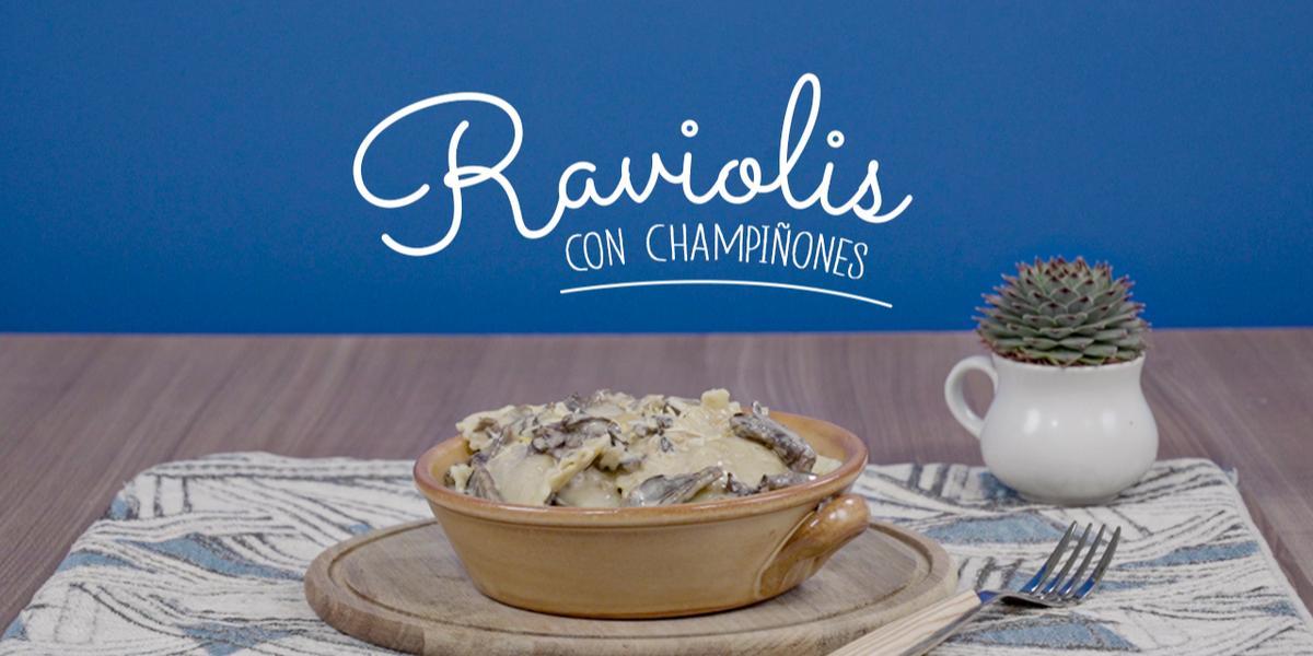 Raviolis con champiñones