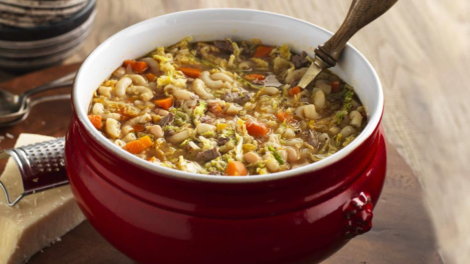 Beef Minestrone with Green Cabbage and White Beans