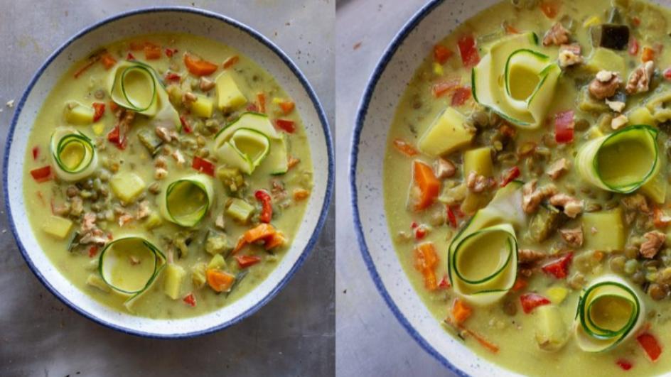 Zupa z bakłażana z cukiniowym parpadelle i orzechami