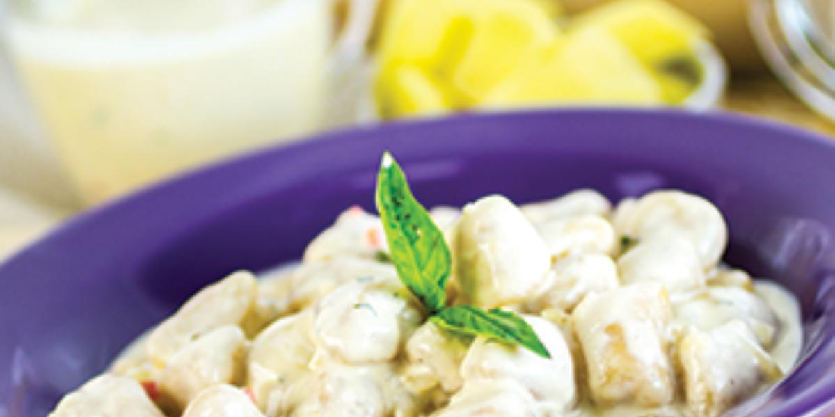 Ñoquis de pixbae en salsa blanca