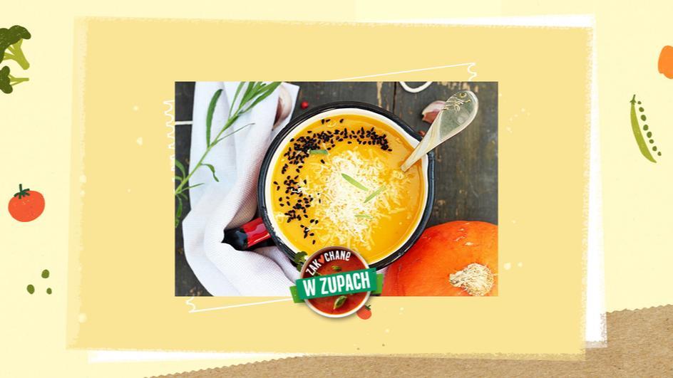 Pikantna zupa dyniowa z czarnuszką i serem grana padano