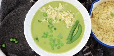 Wiosenna zupa krem z brokuła i groszku z kaszą jaglaną