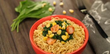Salami Spinach and Corn MAGGI Noodles Recipe